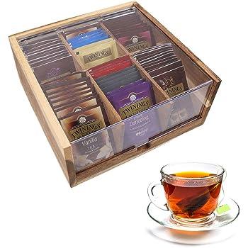 unho Caja para Bolsitas de Té con 6 Compartimentos Caja de Madera para Infusiones Organizador de Té con Tapa Transparente 22 x 21.5 x 9.6cm: Amazon.es: Hogar