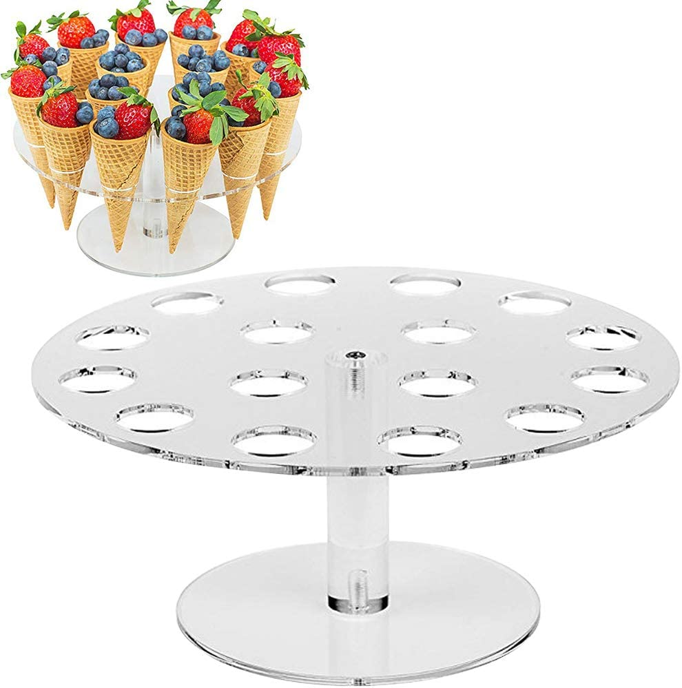 yodaliy Ice Cream Cone Holder, 16 Hole Acrylic Cone Holder Display Cones Sushi Finger Food Stands for Kids Birthday Afternoon Tea Part(16 Holes)