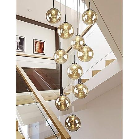 10 Boules De Verre Escalier Lustre Long Pendant Lumière Bâtiment Duplex Grand Lustre Salon Villa Creux Moderne Escalier Minimaliste Lampe 40x200 cm (Couleur : Champagne)