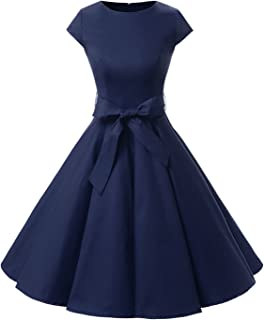 Women Vintage 1950s Retro Rockabilly Prom Dresses Cap-Sleeve