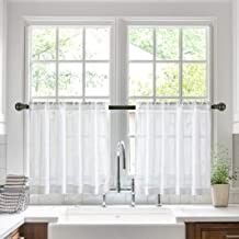 Jola's House Tier Curtains Kitchen Cafe Bathroom Window Curtain Panels, Faux Linen Texture Off White Semi Sheer Rod Pocket (W34 x L24 Inch, 2 Panels)