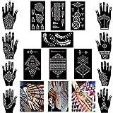 Mehandi Schablonen 15 Blatt Henna Tattoo Templates für Hände Körperbemalung für Glitter Tattoo Air Brush Tattoo geeignet für Jugendliche Erwachsene Frau