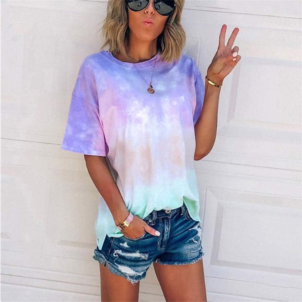 AODONG Tops for Women Plus Short Sleeve Tunics for Women, Womens Casual Summer Short Sleeve Cross Neck Blouse Casual Tops T-Shirt Blue