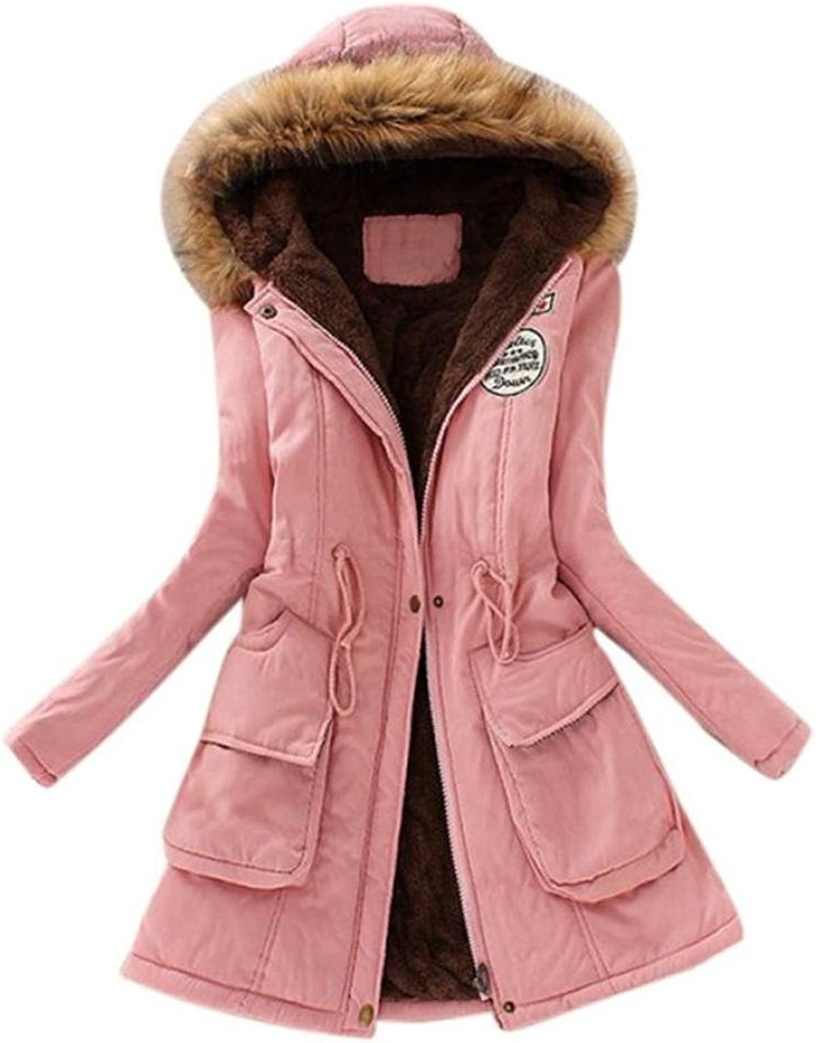 BCDshop Coat Women Winter, Ladies Long Hooded Warm Coats Parkas with Faux Fur Outwear