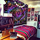 THE ART BOX Hippie Mandala Blue Sun Moon Burning Sun Tapiz psicodélico Trippy...