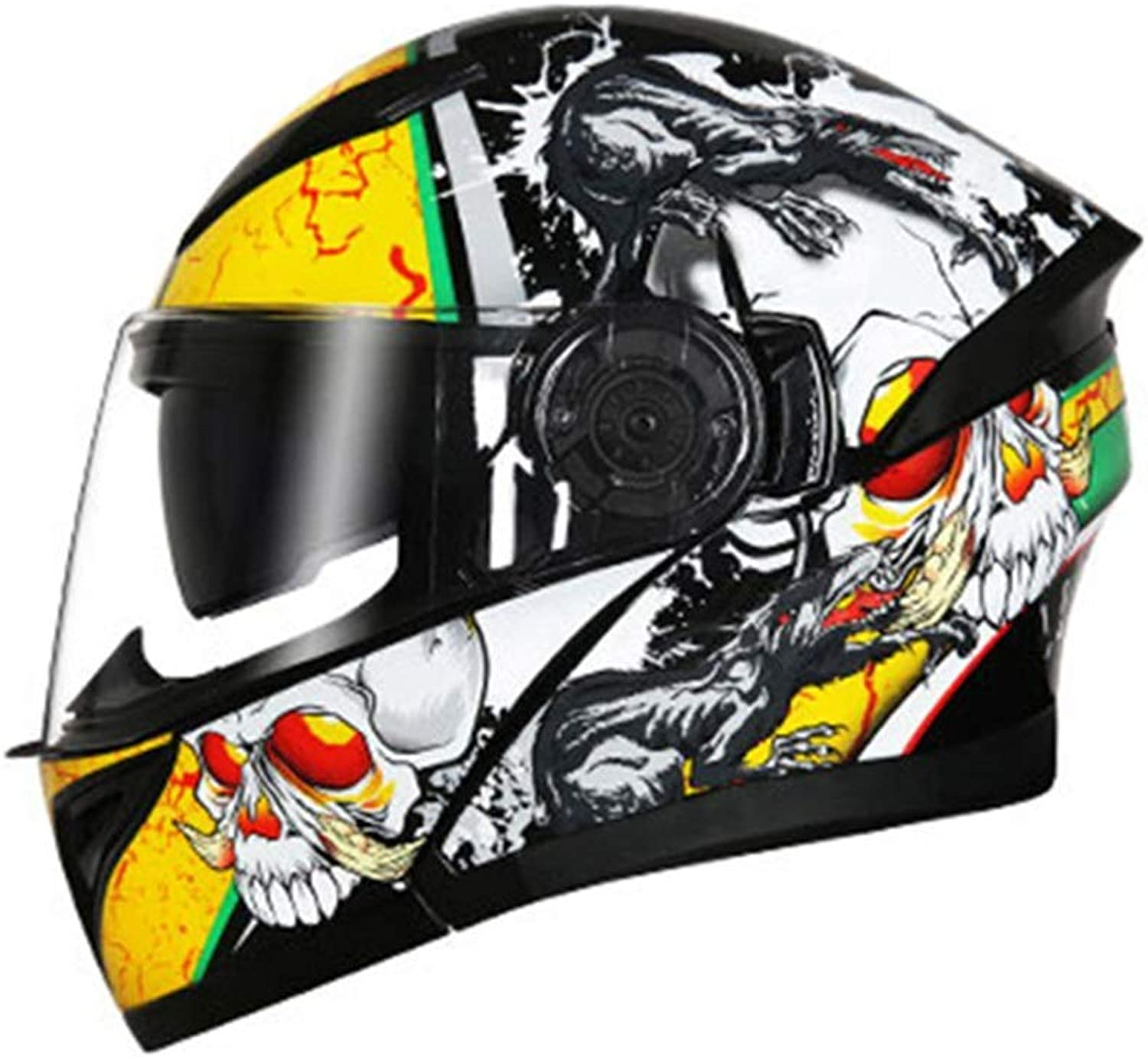 Songlin@yuan Double Mirror Open Face Helmet Men's Four Seasons Universal Helmet Electric Motorcycle Handsome Helmet Full Cover blueeetooth Ladies Full Face Helmet  Black and White Yellow  Personality