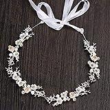 Accesorios para el Cabello Nupcial, Tocado de Flores para Bodas Nupciales Cabello con cáscara Suave Diamante Flor Cadena Femenina 3 * 35 cm,B