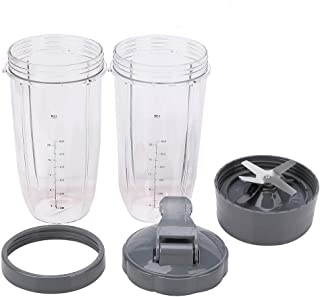 5 Pack Blender 32 oz Colossal Cup Container with Extractor Blade & Lip Ring & Lids Replacement Parts Kit Compatible with N...