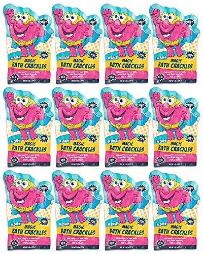 Mr. Bubble Magic Bath Crackles - Fun to add to Bubble Bath to Make Bath Time Exciting for Kids with Colorful Pops and Fizzy Snap Fun (12 Packets, 1 oz Each)