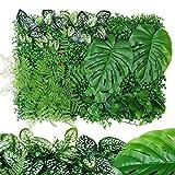 15.8 23.6 Pollici Siepe Artificiale-Fiore Verde/Sesamo Rosso/Salvia Gialla, Pannello Siepe Pianta Artificiale, Schermo Decorativo Recinzione Privacy Pianta Verde Albero Muro