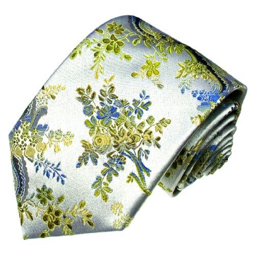 Lorenzo Cana - Luxus Krawatte aus 100{769b0d76d1aac4b40c418618a951e6ce854707090e3c80f44def00a8068643d2} Seide Silber Gelb Limone Blau Hellblau Paisley Floral Hochzeit - 84559