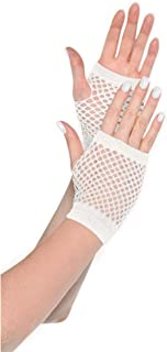 Amscan Short Fishnet Gloves, Party Accessory, White