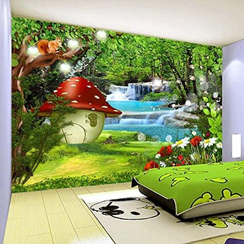 Fotomurales Seta Roja De Árbol Verde, Ardilla 3D Papel Pintado Tejido No Tejido Foto Papel Tapiz Cartel Pared Foto Moderna Decoración De Pared Sala Cuarto Oficina Salón 300X210Cm