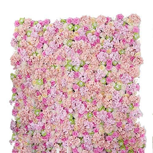 Siepe artificiale LVZAIXI Effetto Muro Fiorito 3 Pezzi Decorazione Floreale Sfondo Festa Matrimonio Puntelli di Photo Studio (Color : B, Size : 50x240cm)