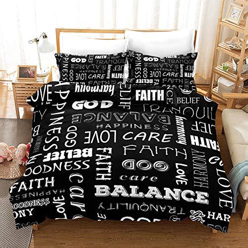 Bettbezug-Set 3D-Schwarz-weißen Buchstaben drucken Mikrofaser Anti-Fading Easy Care Bedding Set Single Double King Size Bettbezüge Pillowcase,A,240x220cm