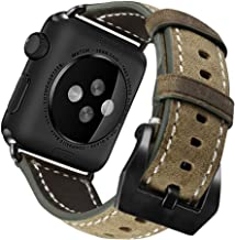 UMAXGET Compatible with Apple Watch Series 4 Bands 42/44mm Series 5, Classy Genuine Leather Strap Vintage Style Wristband with Stainless Metal Clasp Compatible with iWatch Series 3 2 1, Army Gray
