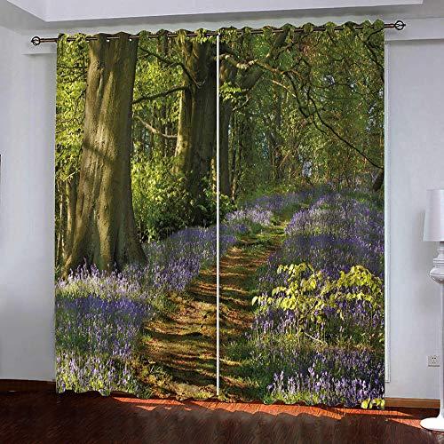 zzttyyz Cortinas opacas con aislamiento de bosques verdes plisadas, plisadas, con ojales, 100% poliéster, microfibra térmica, para dormitorio, sala de estar