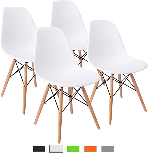 Furmax Pre Assembled Modern Style Dining Chair Mid Century Modern DSW Chair Shell Lounge Plastic Chair For Kitchen Dining Bedroom Living Room Side Chairs Set Of 4 White