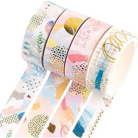 10 Rollen Dekoratives Masking Tapes mit 10 Farbigen Aufklebern f/ür Scrapbooking RisyPisy Washi Tape Set Gold Stamping und Vintage Klebeb/änder Planer und Bastelbedarf Bullet Journals