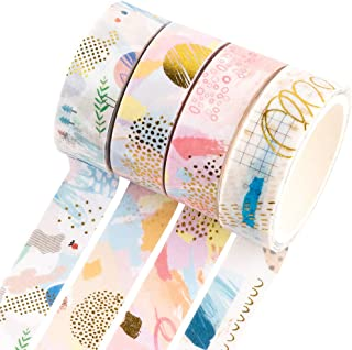 YUBBAEX Gold Washi Tape IG Style Foil Masking Tape Set Decorative for Arts, DIY Crafts, Bullet Journal Supplies, Planners,...