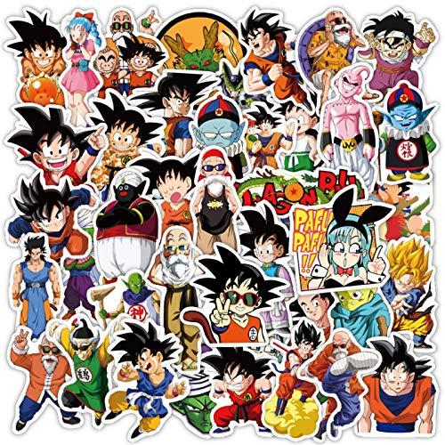 Daisucal 50 Piezas De Dragon Ball Z Pegatinas De Anime JaponéS para NiñOs Adolescentes Adultos Equipaje PortáTil Bicicleta MonopatíN Suministros