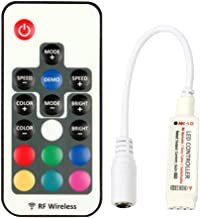 RGBZONE DC 5V-24V 12A RGB LED Controller with 17-key RF Wireless Remote Control Dimmer for 5050 3528 5630 LED Strip Lights