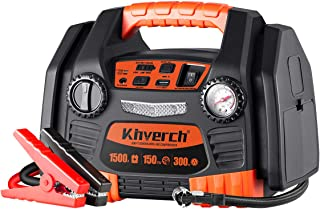 Kinverch Portable Power Station Jump Starter 1500 Peak/750 Instant Amps with 300W Inverter,150 PSI Air Compressor