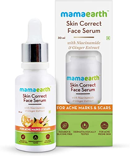 Mamaearth Skin Correct Face Serum Acne Scars removal cream with Niacinamide and Ginger Extract - 30 ml
