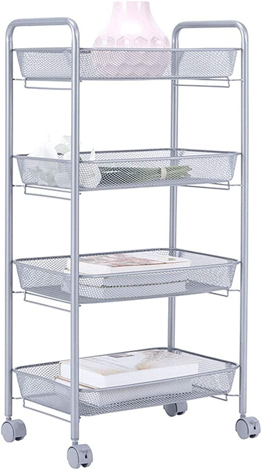 XLong-Home 4 Layers Storage Trolleys Racks Kitchen Fruit Vegetable Shelving Holders with 4 Rolling Castors Wheels