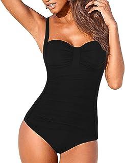 23eecc6c5d562 Hilor Women's One Piece Swimsuits Shirred Tummy Control Swimwear Tank Bathing  Suits