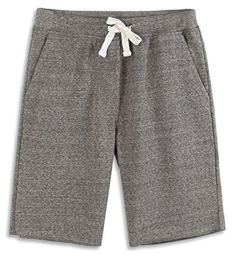 HARBETH Men's Casual Soft Cotton Elastic Fleece Jogger Gym Active Pocket Shorts Charcoal Melange XL