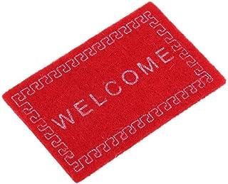 JVSISM Casa de munecas Alfombra Miniatura Bienvenida Alfombra Accesorios de casa de munecas Casa & Vida Tapetes de Escala 1/12 Rojo