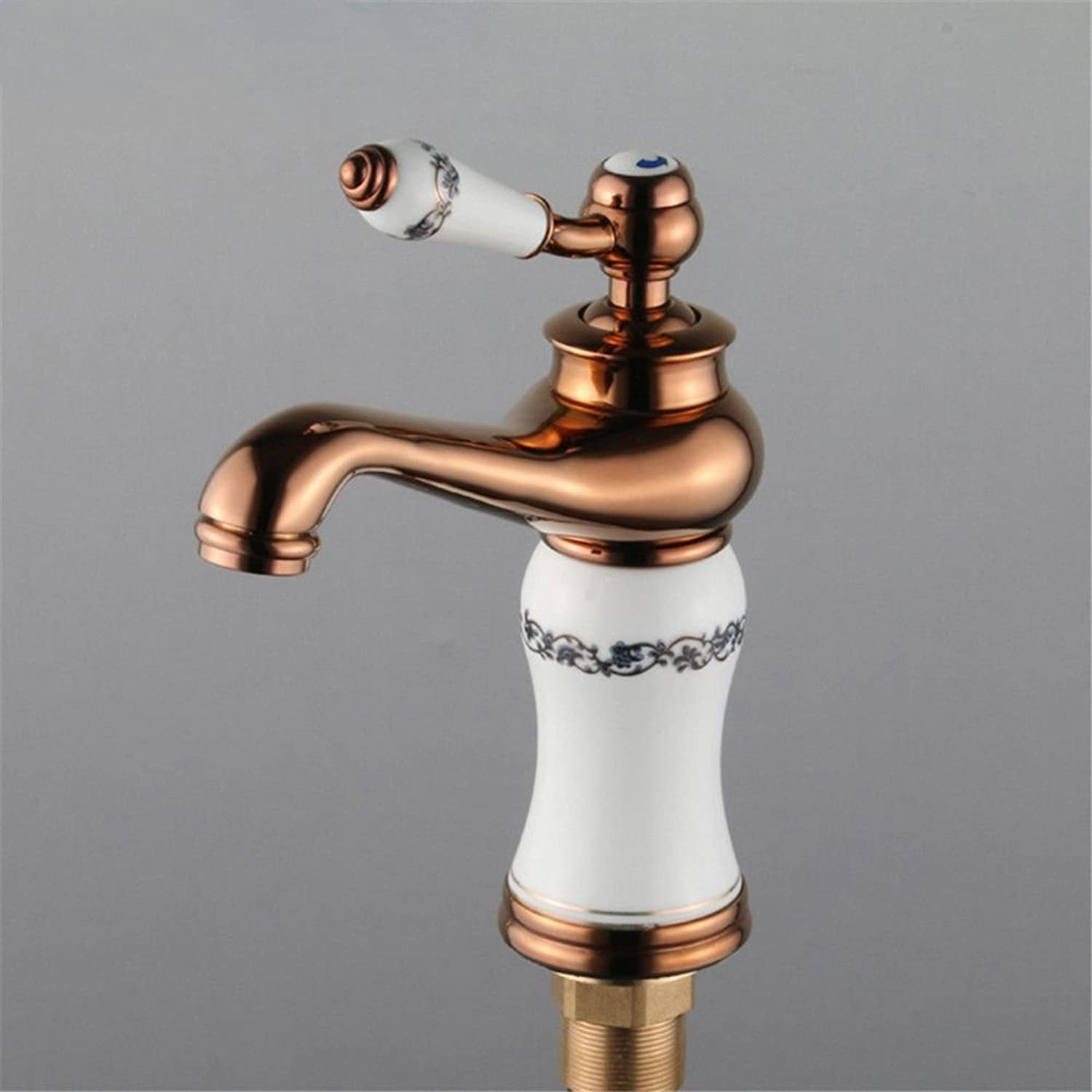 ETERNAL QUALITY Bathroom Sink Basin Tap Brass Mixer Tap Washroom Mixer Faucet pink gold-copper natural jade hot and cold water faucets antique pink gold basin Faucet Kitc