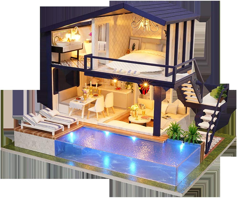 Dollhouse DIY Kit, Wooden Mini House Dollhouse Miniatur mit Mbeln Crafts Adult Dekompression Puzzle Game Sein EIN Speacle Present (Mit Musik, Lichter)