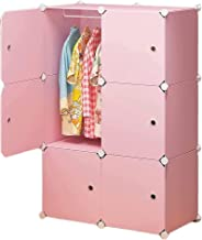 Wardrobe For Hanging Clothes Bedroom Modular Resin Closet Assembly Clothing Storage Cabinet Storage Cabinet (Color : Pink,...