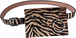 Lush Leather Tiger Stripes Faux Horsehair Belt Ring Flap Fanny Pack Belted Waist Bag