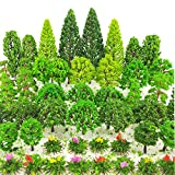 BLEBRDME 60 Pieces Model Trees 1.36-6 inch Mixed Model Tree Train Scenery Architecture Trees Fake Trees for DIY Crafts, Building Model, Scenery Landscape Natural Green