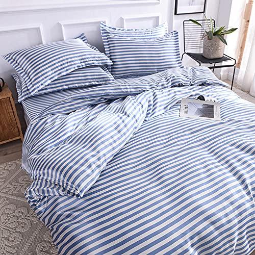Bedding-LZ Funda nordica Cama 180x200,Verano Hielo Seda de Cuatro Piezas impresión de Cuatro Piezas Color Lavado de lecho de Seda-L_Cama de 2.0m (4 Piezas)