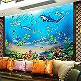 FTFTO Equipo para el hogar Papel Tapiz fotográfico HD Mundo Submarino Tiburón Peces Tropicales Mural 3D Acuario Moderno Sala de Estar TV Niños Dormitorio Decoración de fondo-250X175cm