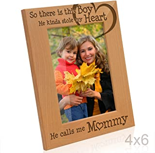 KATE POSH So There is This Boy He Calls me Mommy - Natural Engraved Wood Photo Frame - Mother and Son Gifts, Mother's Day, Best Mom Ever, New Baby, New Mom (4x6-Vertical)