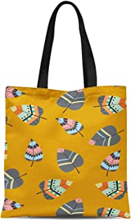 S4Sassy Gold Tribal Leaves Printed Canvas Large Tote Bag for Beach Shopping Groceries Books 16x12 Inches