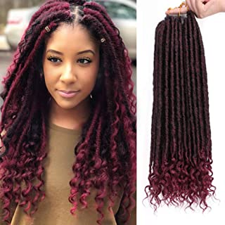 AISI BEAUTY Goddess Locs Crochet HairBraiding Pre-Looped Faux Locs Crochet Hair with Curly Ends Synthetic Black Mixed Burgundy Hair Extensionfor Black Women 6packs/Lot 24 Roots(1B/Bug,20inch)