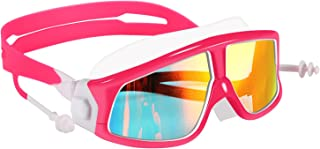 Spinosaurus Kids Swim Goggles(Age 3-15 years), fashionable, Anti-Fog,UV Protection, No Leaking, Coated Lens,with case and earplugs, HD swim goggles for kids youth and Teenagers (blue green,pink white)