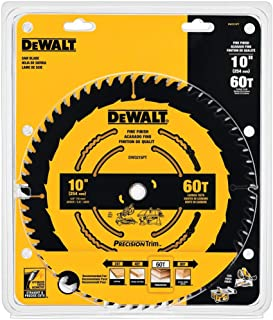 DEWALT DW3215PT 10-Inch 60 Tooth ATB Crosscutting Saw Blade with 5/8-Inch Arbor and Tough Coat Finish