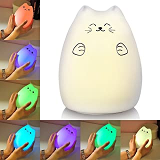 Litake Night Lights for Kids USB Rechargeable Multi Color Silicone Soft Cat Night Light with Warm White and 7-Color Breath...