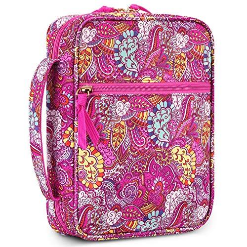 FINTIE Étui de protection de la Bible avec poignée et poche zippée pour Bible de taille standard, cadeau parfait pour maman, enfants, filles, femmes, Vector Violet