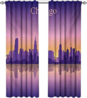 shenglv Chicago Skyline, Curtains, Sunset in Illinois American Horizon Behind High City Silhouettes, Curtains Kitchen Valance, W96 x L96 Inch, Purple Apricot Pink