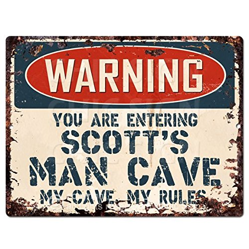 WARNING YOU ARE ENTERING SCOTT'S MAN CAVE Chic Sign Vintage Retro Rustic 9'x 12' Metal Plate Store Home Room Wall Decor Gift