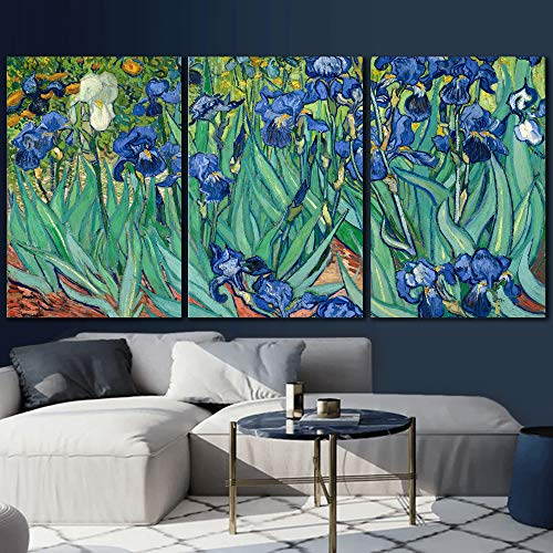 wall26 3 Panel Canvas Wall Art - Irises by Vincent Van Gogh - Giclee Print Gallery Wrap Modern Home Art Ready to Hang - 16