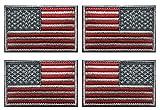Antrix Aufnäher mit USA-Flagge, bestickt, Rot/Silber, reguläre & umgekehrte amerikanische Flagge, bestickt, für Rucksäcke/Taschen/Hüte, 4 Stück